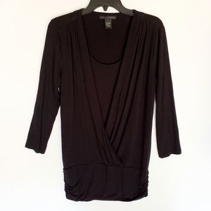 Grace Elements Black Faux Wrap Sweater